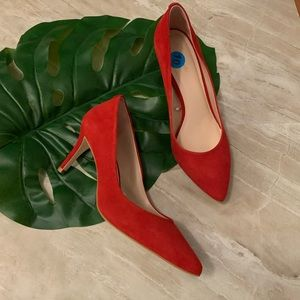 Kate spade red suede Pointy toe pumps 10